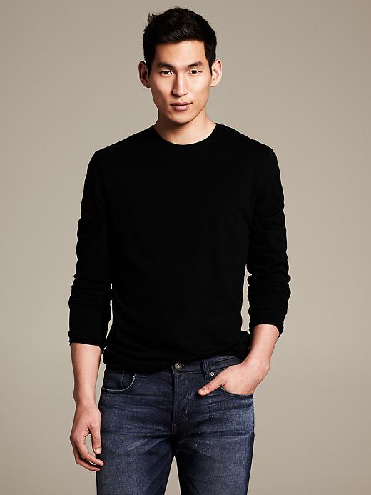 Banana Republic Soft Wash Crew Neck Long Sleeve Tee - Black