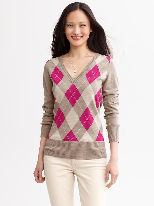 Extra Fine Merino Wool Argyle V Neck Sweater