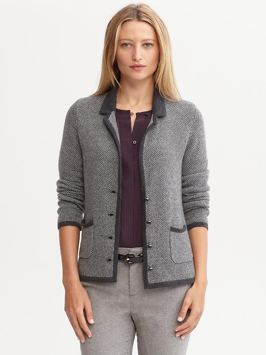 Banana Republic Tipped Tweed Sweater Blazer