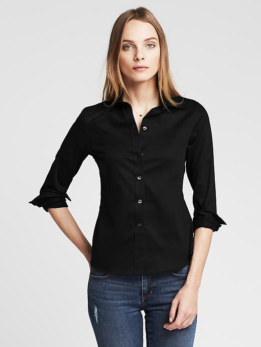 Banana Republic Women's Black Fitted Non-Iron Shirt