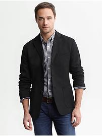 Black knit three-button blazer