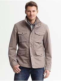Khaki cotton four-pocket jacket