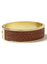 Leather braid bangle