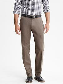 Straight fit brown cotton trouser