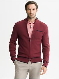 Mad Men® Collection Textured Zip Cardigan