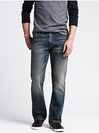 Boot-cut distressed jean