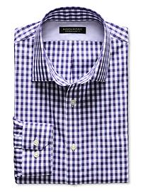 Classic-Fit Non-Iron Purple Gingham Shirt