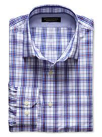 Classic-Fit Non-Iron Blue Dobby Plaid Shirt