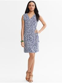 Leaf Print Wrap Dress