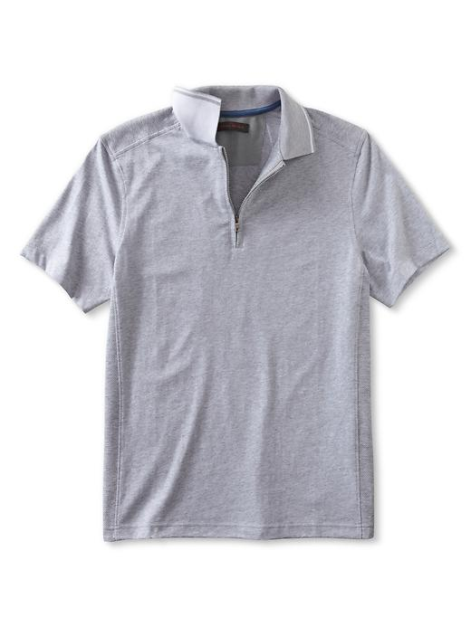 Banana Republic Performance Contrast Collar Zip Polo