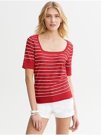 Striped Square-Neck Pullover