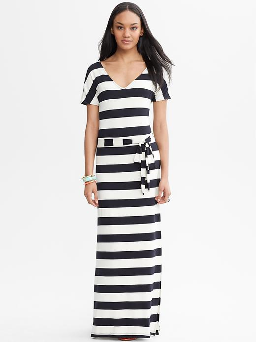 Banana Republic Striped Tie Front Patio Dress