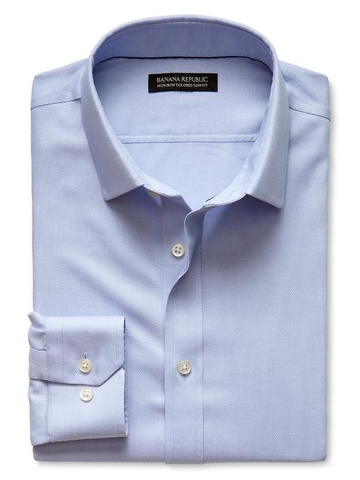 Banana Republic Tailored Slim Fit Non Iron Birdseye Shirt - Blue