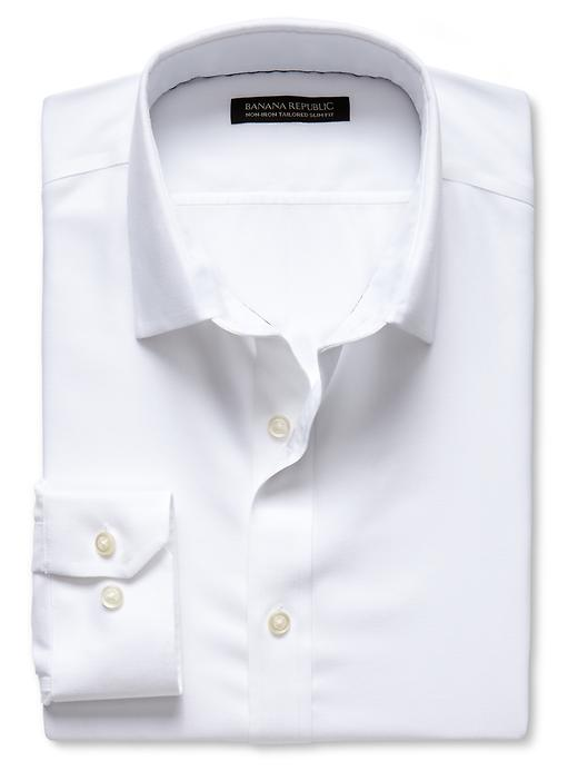 Banana Republic Tailored Slim Fit Non Iron Birdseye Shirt - White