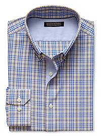 Tailored Slim-Fit Non-Iron Plaid Button-Down Shirt