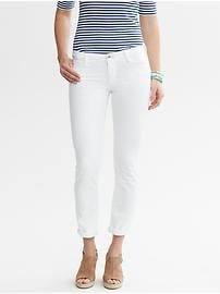 White skinny roll-up jean