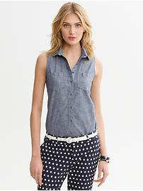 Non-Iron Chambray Sleeveless Shirt