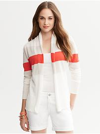 Triple-Stripe Open Cardigan