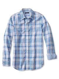 Slim-Fit Multi-Plaid Linen-Cotton Shirt