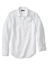 Slim-Fit White Linen-Cotton Popover