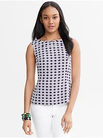 Lattice Print Jacquard Peplum Top