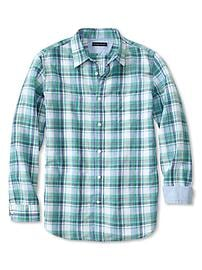 Slim-Fit Linen-Cotton Green Plaid Shirt