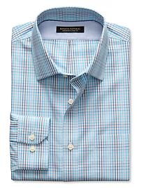 Classic-Fit Non-Iron Blue Micro-Plaid Shirt