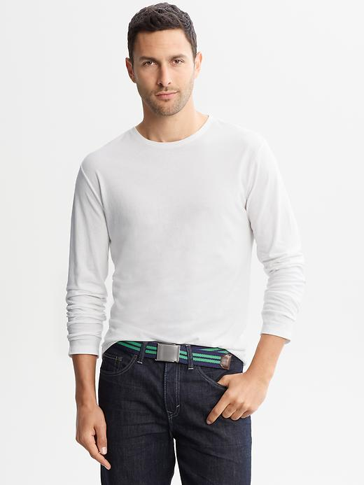 Banana Republic Soft Wash Crew Neck Long Sleeve Tee - White