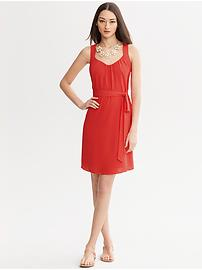 Gathered Scoop-Neck Dress