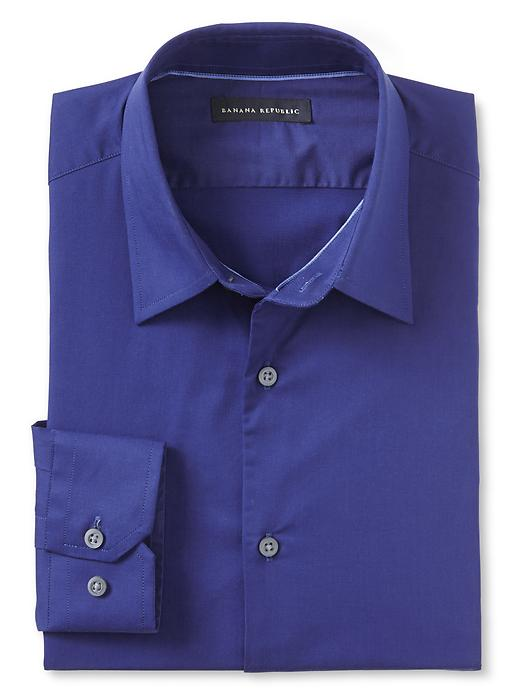 Banana Republic Slim Fit Blue Stretch Poplin Dress Shirt - Drizzle blue
