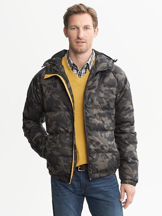 Camo Mens Hooded Puffer Jacket