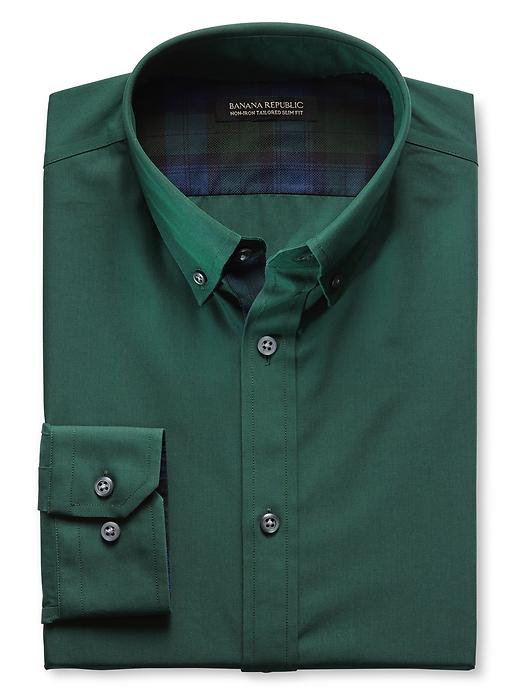 Banana Republic Tailored Slim Fit Non Iron Textured Shirt - Gift green