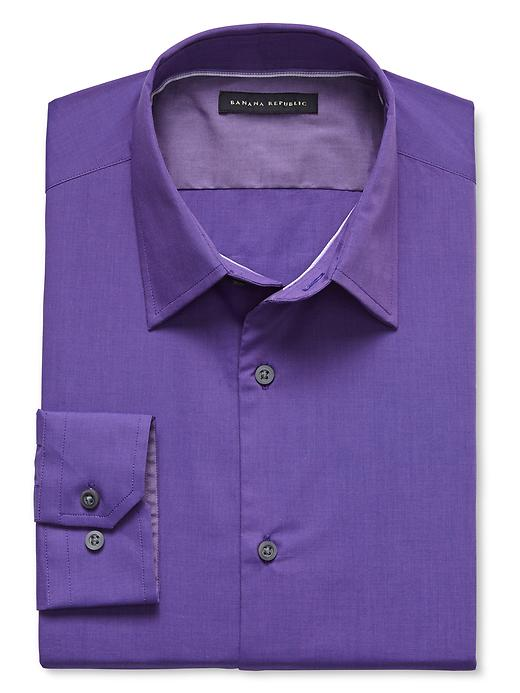 Banana Republic Slim Fit Stretch Poplin Dress Shirt - Purple