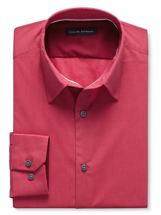 Banana Republic Slim Fit Stretch Poplin Dress Shirt - Red