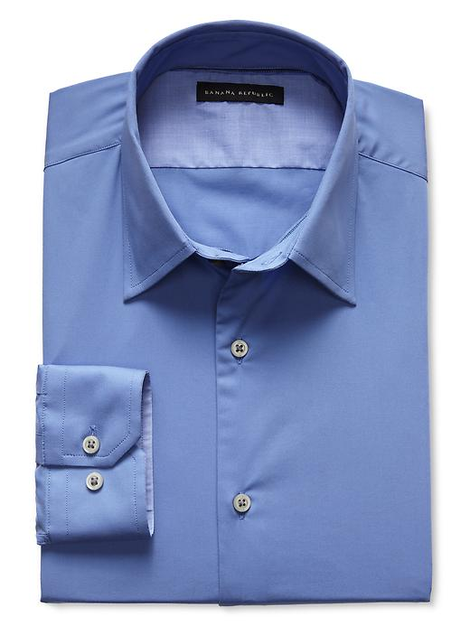 Banana Republic Slim Fit Blue Stretch Poplin Dress Shirt - Egatta blue