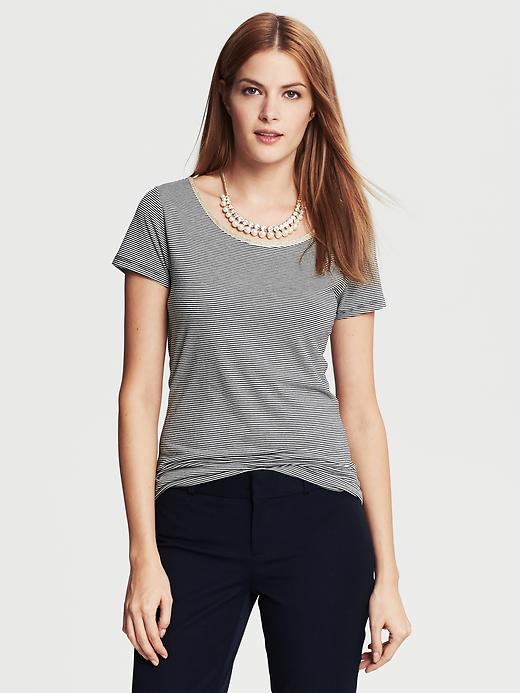Banana Republic Trim Micro Stripe Tee