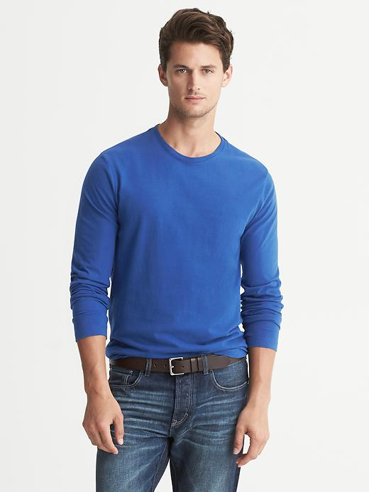Banana Republic Soft Wash Crew Neck Long Sleeve Tee - Dark blue heather