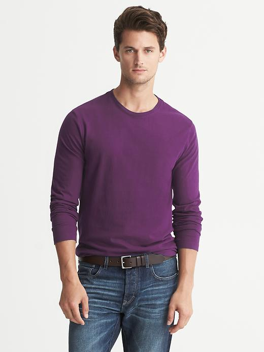 Banana Republic Soft Wash Crew Neck Long Sleeve Tee - Light purple heather