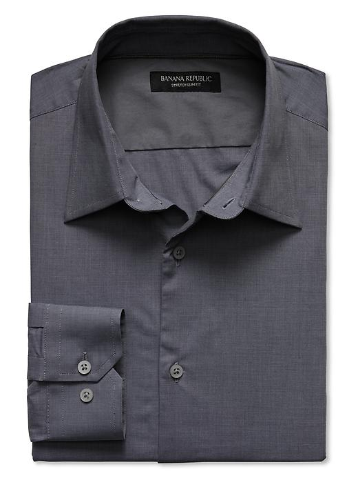 Banana Republic Slim Fit Stretch Poplin Dress Shirt - Mercury grey