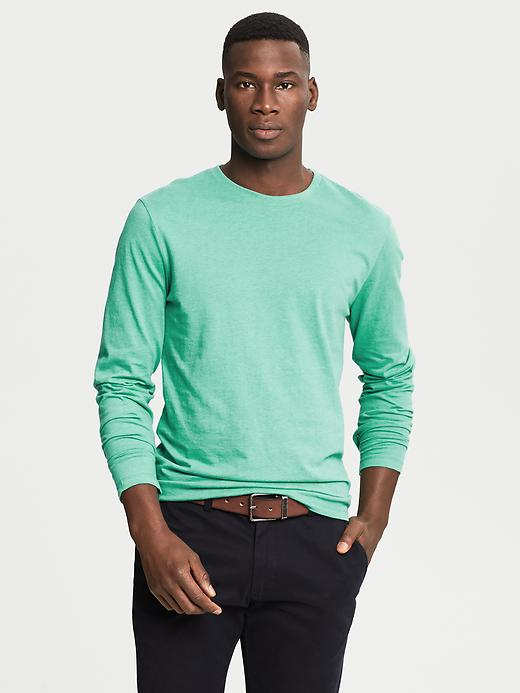 Banana Republic Soft Wash Crew Neck Long Sleeve Tee - Medium green heather