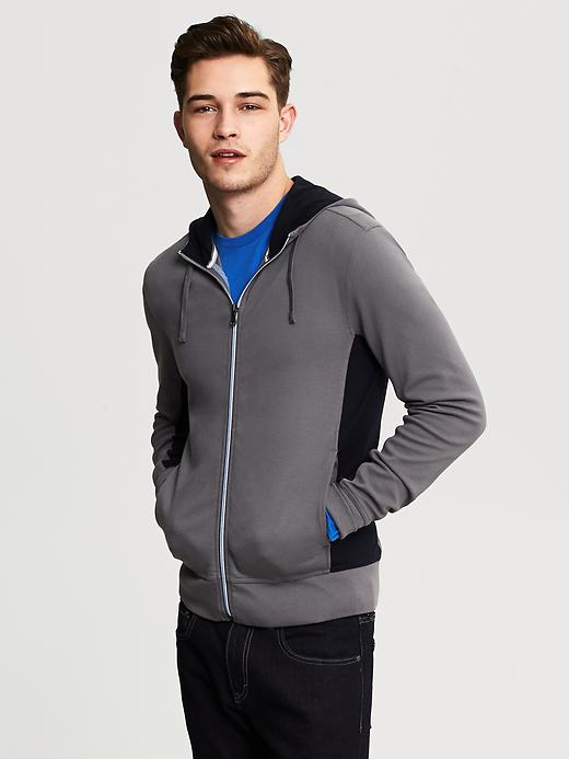 Mens Pieced Hooded Zip Jacket