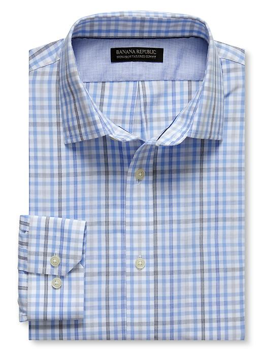 Banana Republic Tailored Slim Fit Non Iron Tri Tone Check Shirt - Wind blue