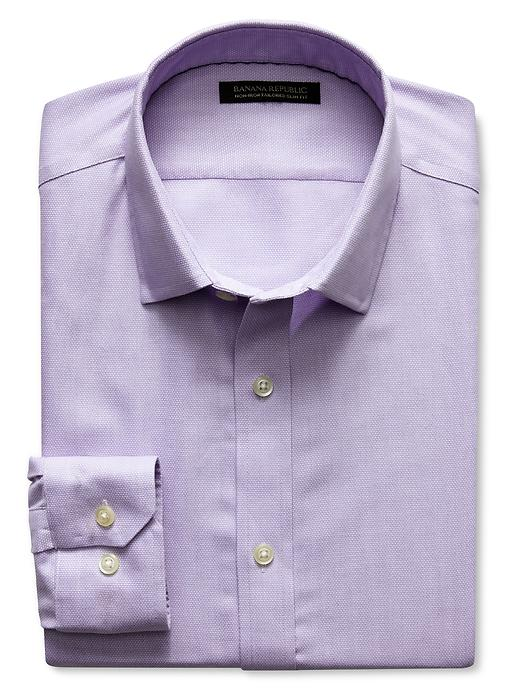 Banana Republic Tailored Slim Fit Non Iron Birdseye Shirt - Warm violet