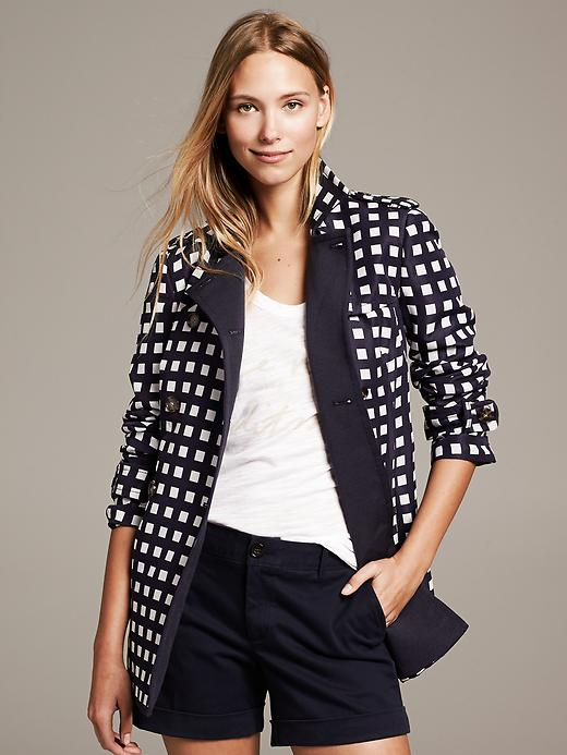 Banana Republic Gingham Trench - Preppy navy