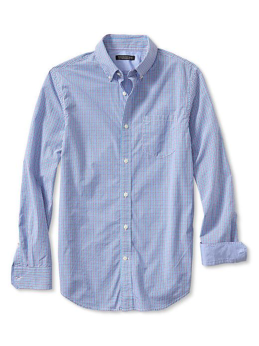 Banana Republic Tailored Slim Fit Soft Wash Micro Check Button Down Shirt - Bright cyclamen