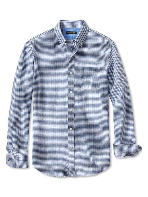 Banana Republic Slim Fit Gingham Linen/Cotton Button Down Shirt - Whiskey