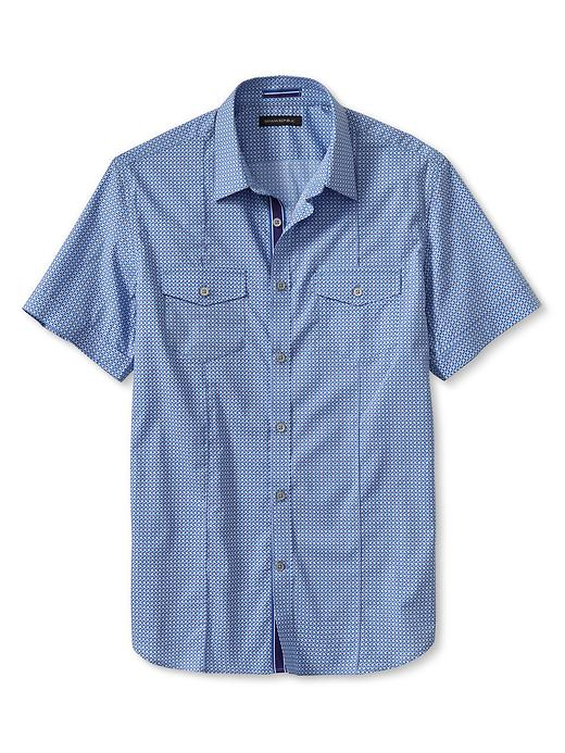 Banana Republic Slim Fit Blue Plaid Short Sleeve Shirt - Cerulean