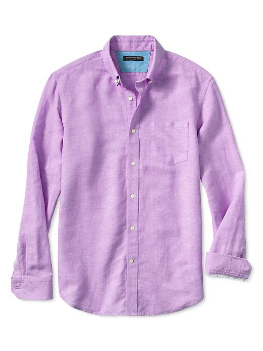 Banana Republic Slim Fit Linen/Cotton Button Down Shirt - Bright cyclamen
