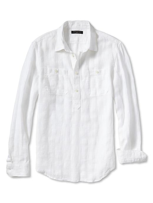 Banana Republic Slim Fit Linen/Cotton Popover Shirt - White