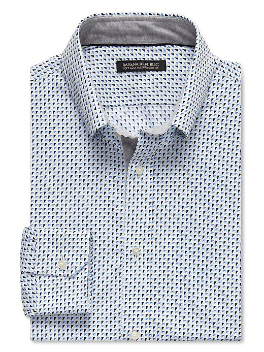 Banana Republic Tailored Slim Fit Sail Print Button Down Shirt - Comet blue